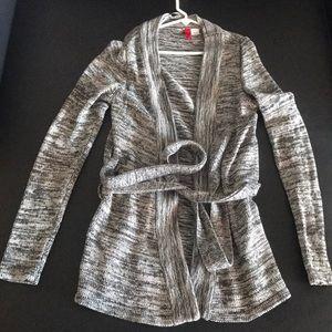 H&M Grey Knot Wrap Cardigan Sz 4